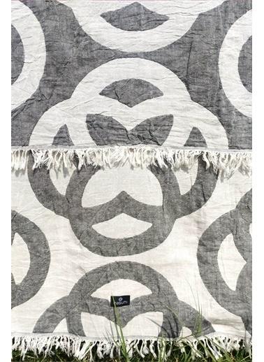 Peraluna Masumi Organik Pamuk Buldan Bezi Siyah/Ekru Desenli Peştemal Siyah